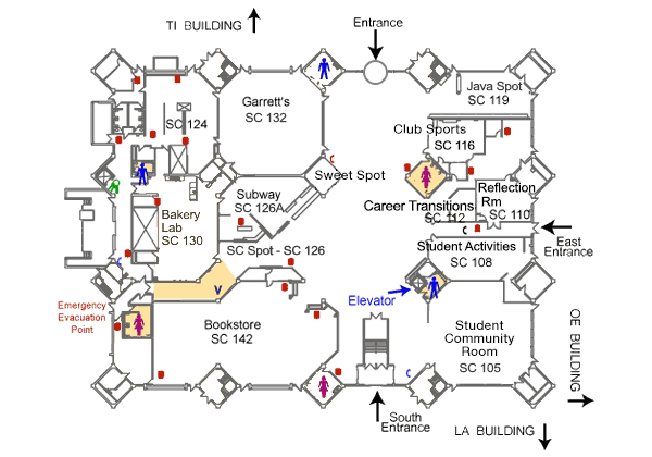 Student Center Building first floor map