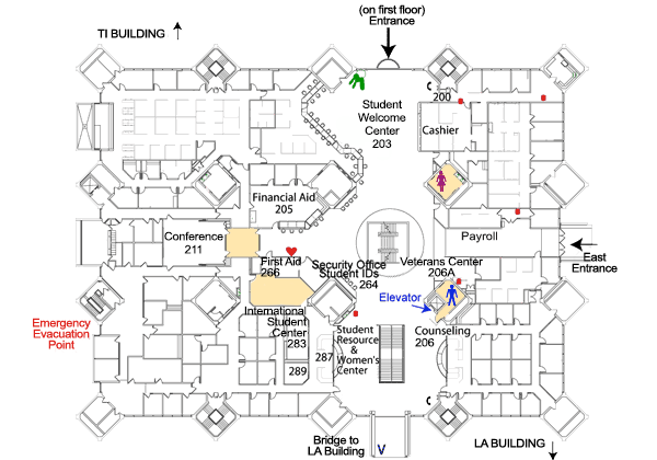 Student Center Building second floor map