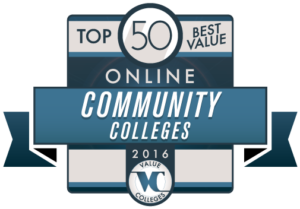 top 50 best value community colleges badge