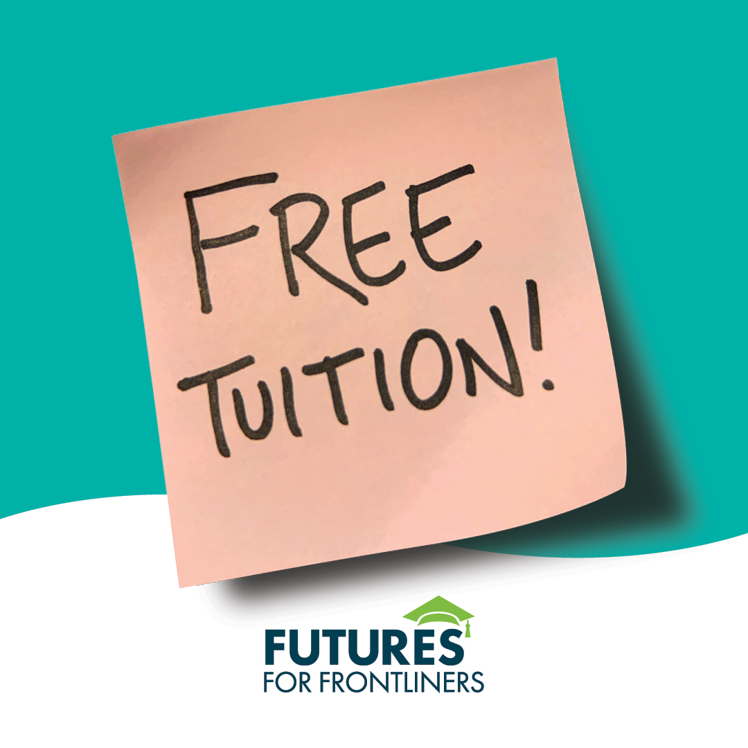 post-it note with text: free tuition