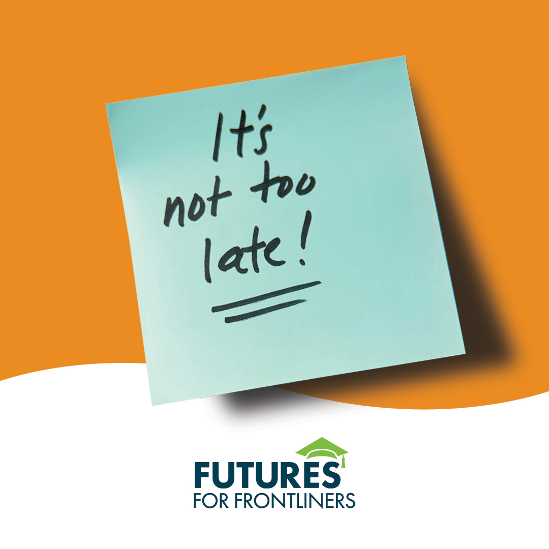 post-it note with text: it's not too late