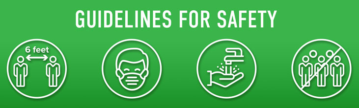 Guidelines for safety, with covid icons