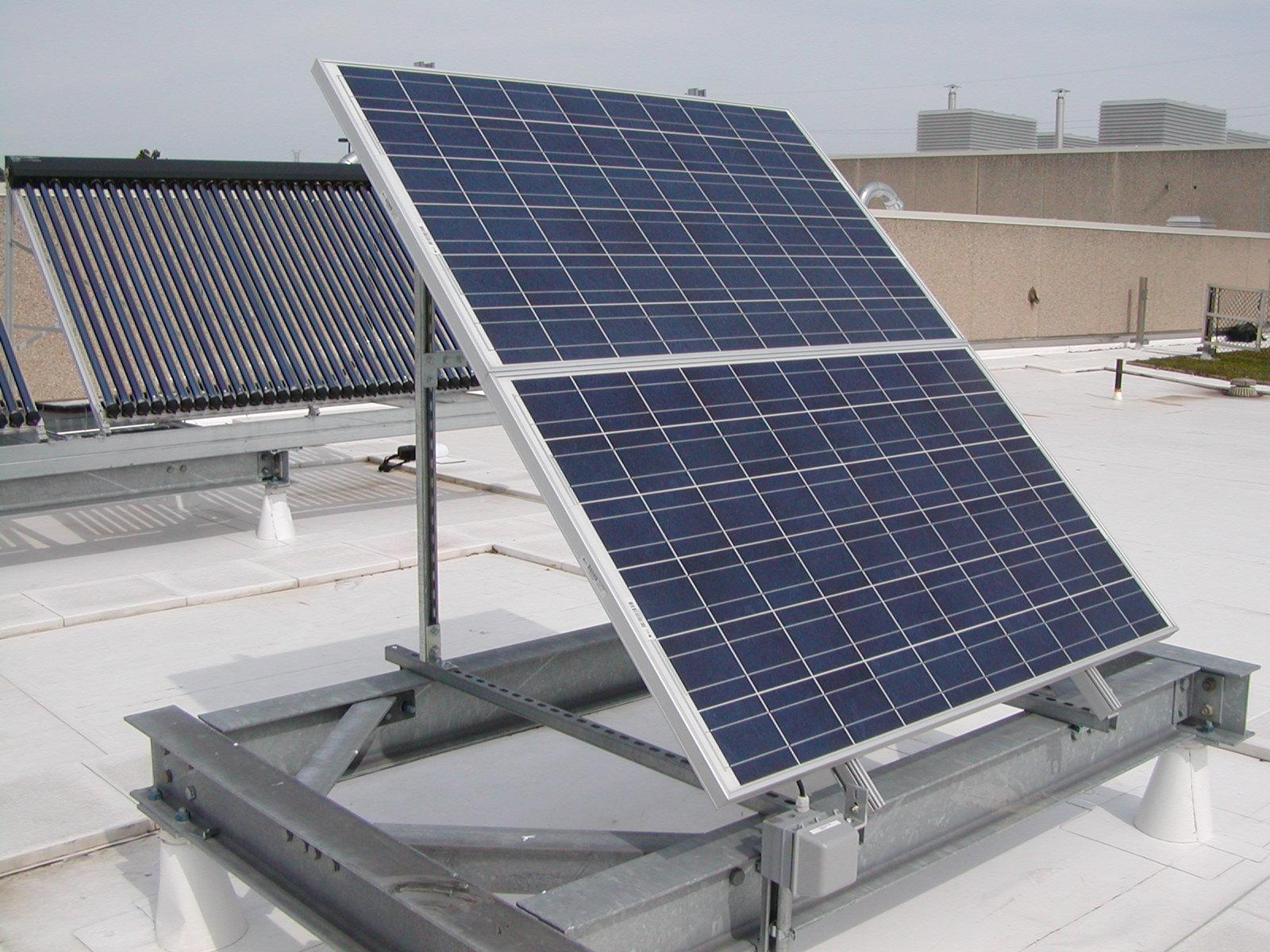 Solar photovoltaic and hot water panels for classroom use