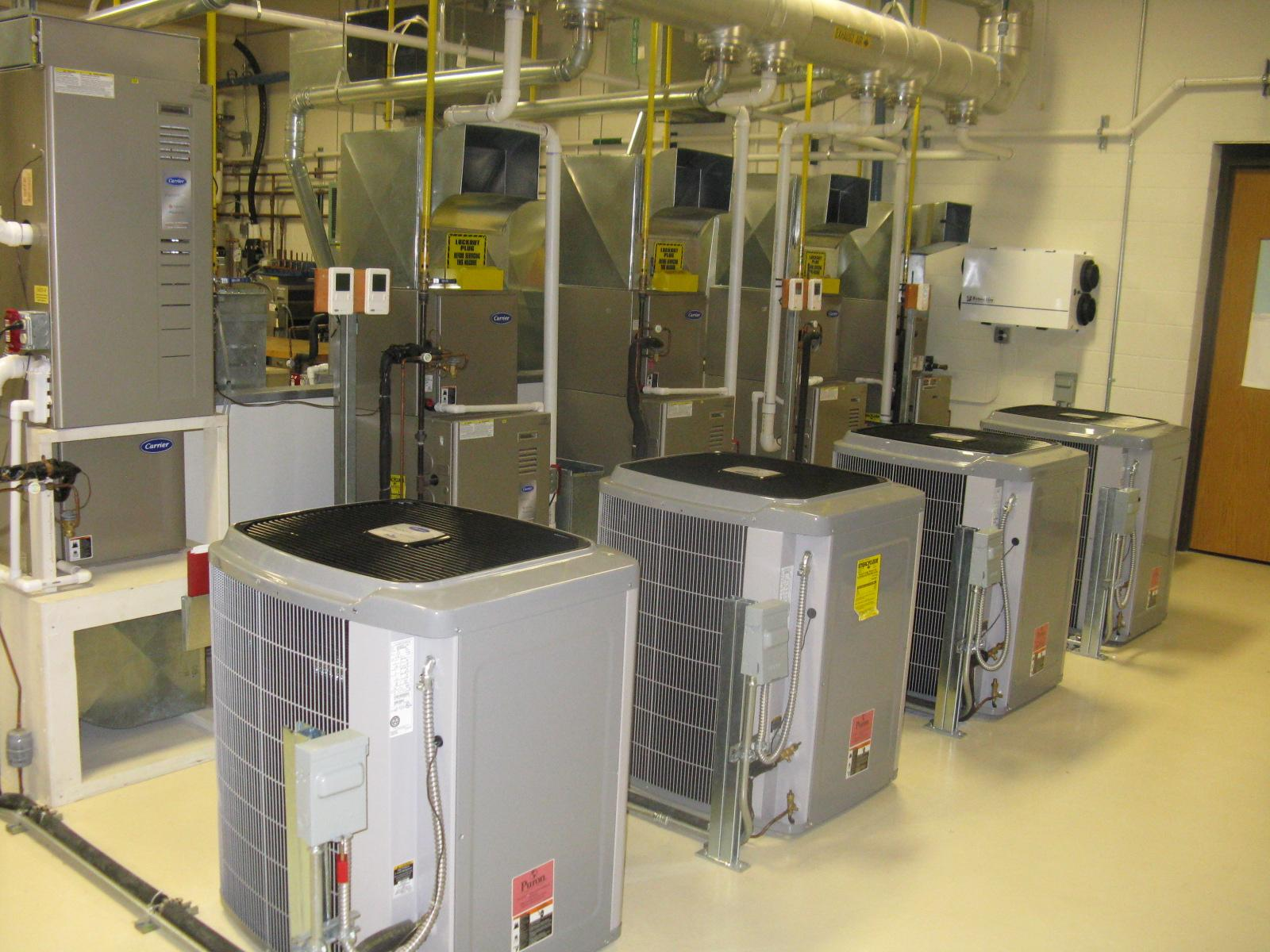 High efficiency A/C units in HVAC lab