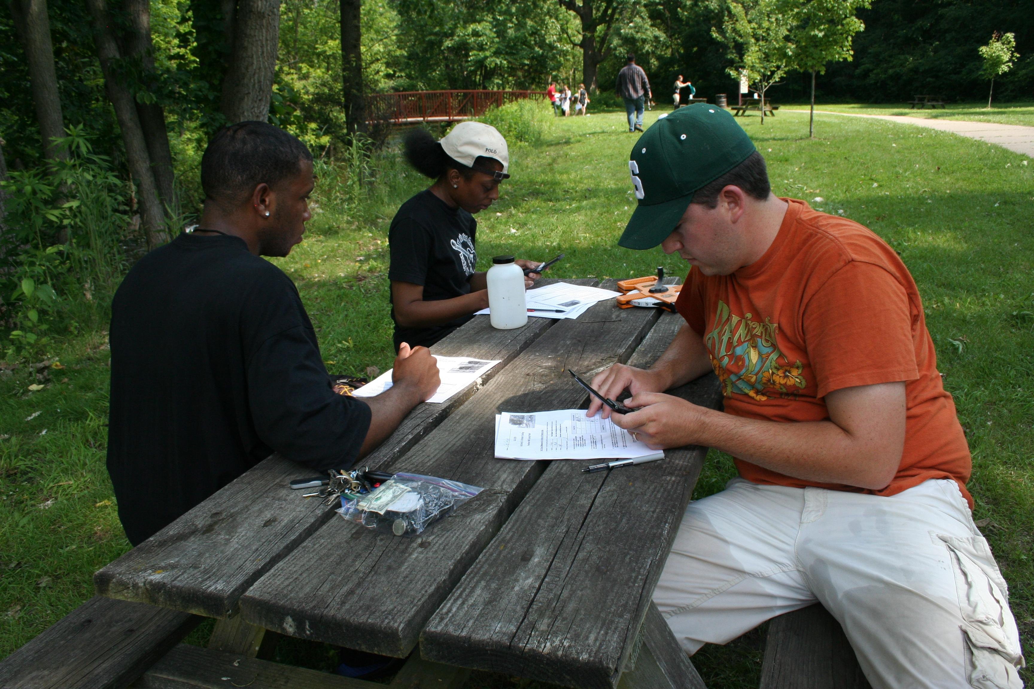 Students testing water at nearby Parker Mill