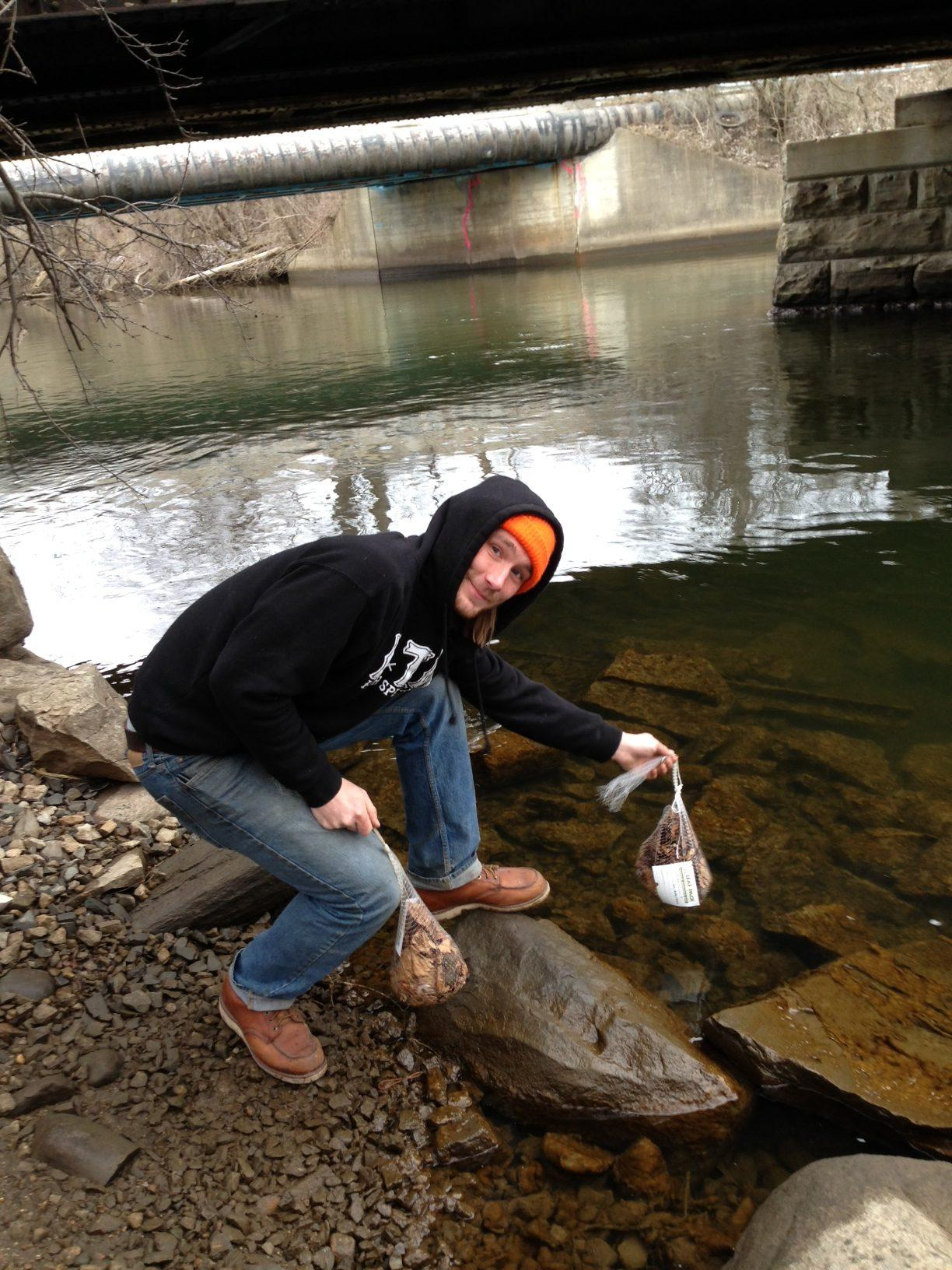 Environmental Science students conduct water testing at nearby Parker Mill.