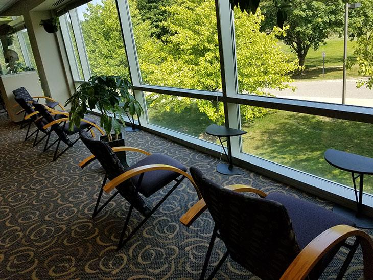 Library student spaces - study chairs looking outside