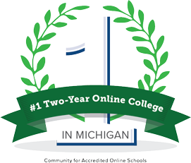 #1 two year college in michigan badge