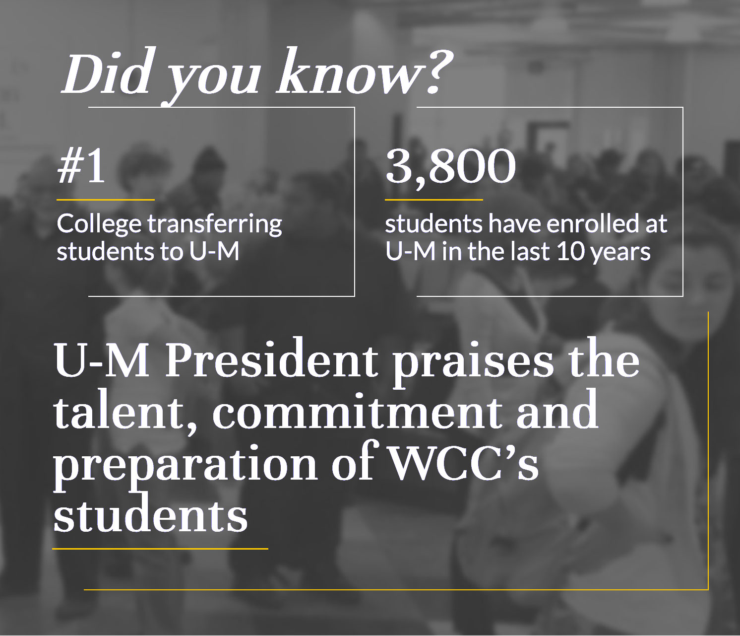 Did you know? #1 college transferring students to U-M. 3,800 studnets have enrolled at U-M in the last 10 years. U-M President praises the talent, commitment and preparation of WCC's students.