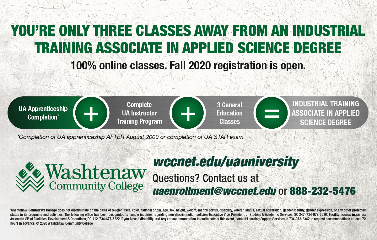 apprenticeship completion plus complete UA Instructor Training Program plus 3 general education classes equals Industrial Training Associate in Applied Science Degree