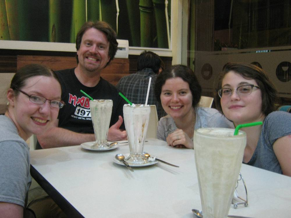 Here is Dr. Barrett and my classmates chilling after we finished delicious milkshakes after a long day of work at Centro Mallqui.