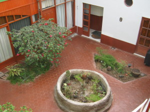 Here is a view down to the beautiful courtyard in our hostal.