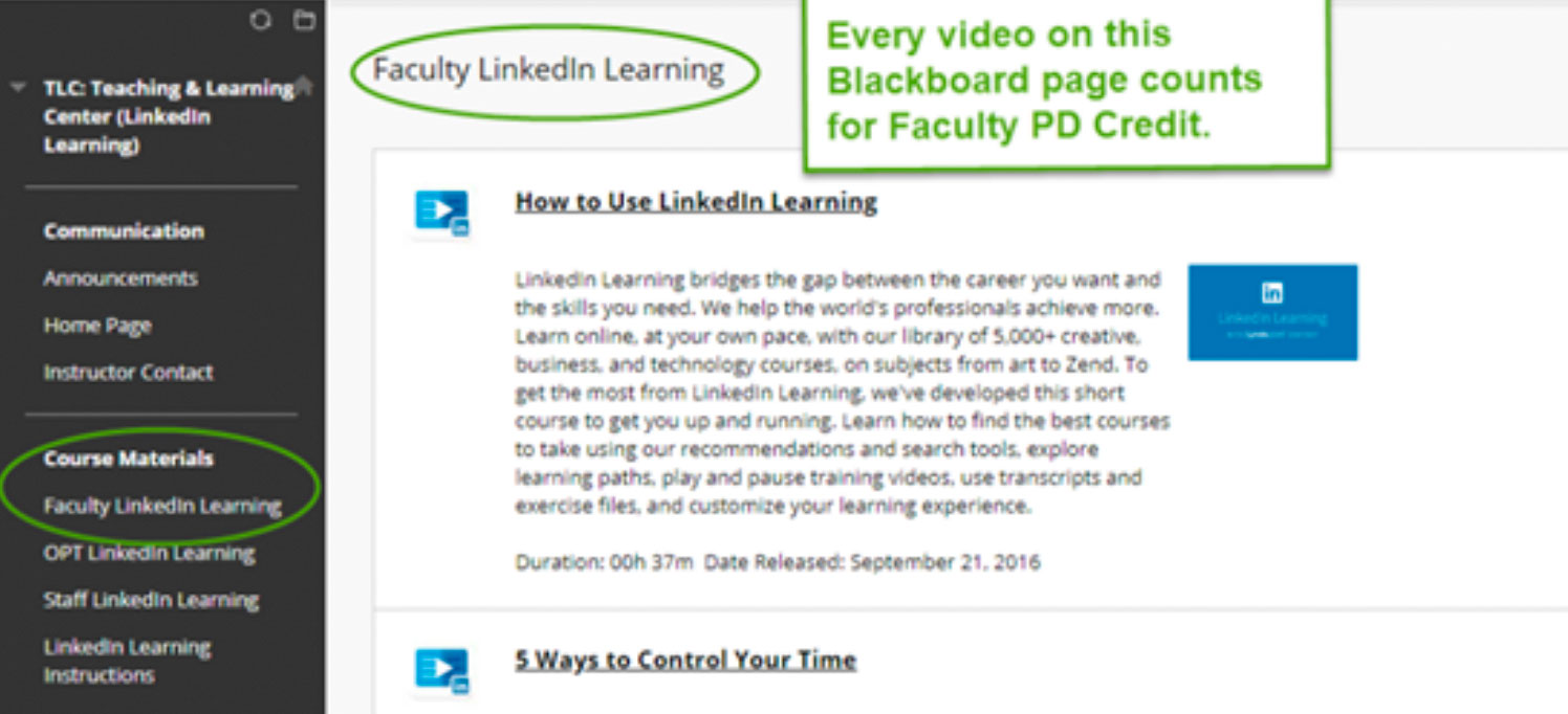faculty linked in learning screenshot
