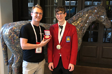 Gold medal winner Ray Papierniak (right) with WCC welding instructor Alex Pazkowski, who won his own gold medal in 2010.