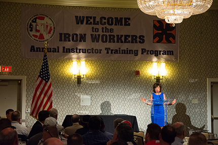 WCC President Dr. Rose B. Bellanca welcomes the Union Ironworkers to the area during an opening session on Sunday.