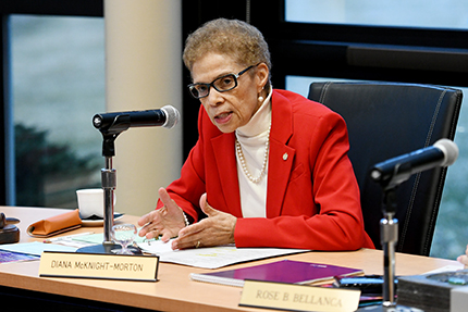 Diana McKnight-Morton at the March 2018 meeting of the WCC Board of Trustees