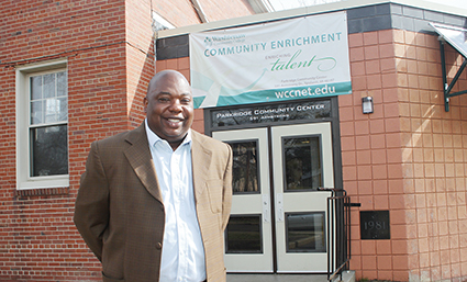 Community Development Manager Anthony Williamson outside the Parkridge Community Center in Ypsilanti.