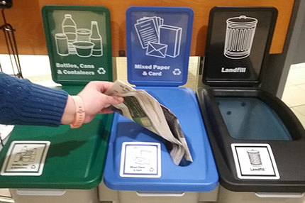One of the 90 new recycling stations placed around campus over the holiday break.