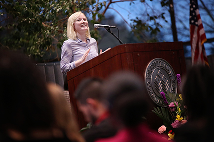 Abbee Elwell delivers her student address at the 2019 Winter Honors Convocation on Thursday, Jan. 24.