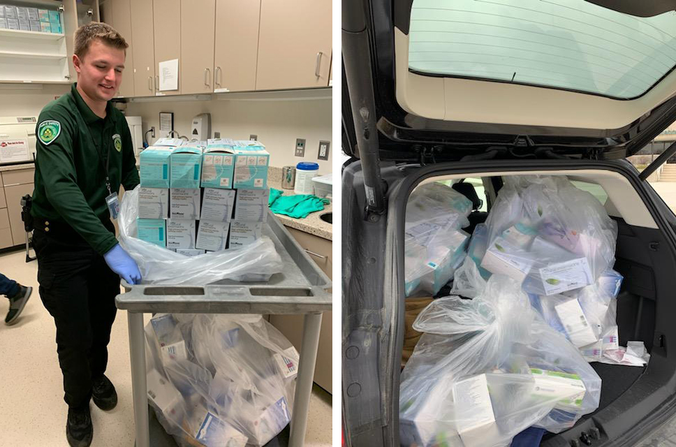 SUV full of medical supplies