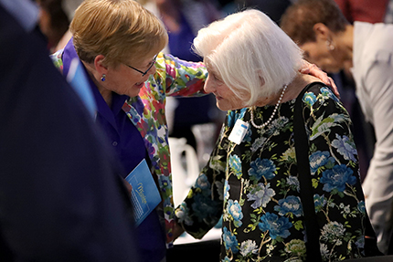 Irene Hasseberg Butter (right), a Holocaust survivor and Professor Emerita of Public Health at the University of Michigan, provided the keynote address for the event.