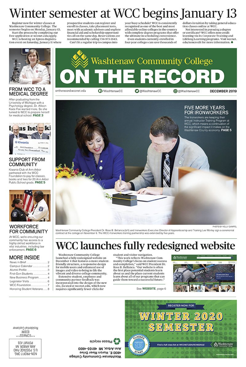 Front page of December 2019 On The Record