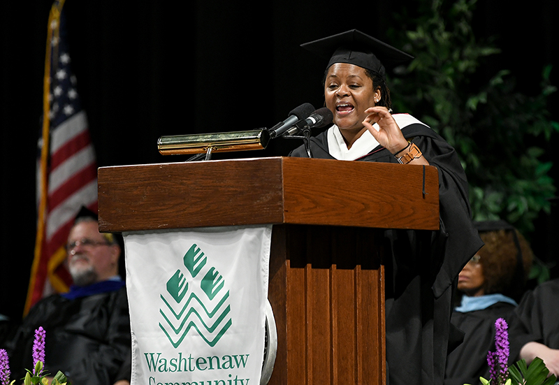 Elizabeth Connors, director of the Surgical Technician and Sterile Processing programs at WCC, delivers the faculty address at the 2019 commencement ceremony. (Photo by Lon Horwedel)