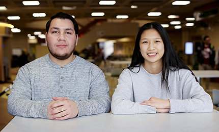 "WCC students Ahmed Ghalib (left) and Jianing ""Vivian"" Wang are both semifinalists for the prestigious Cooke Undergraduate Transfer Scholarship."