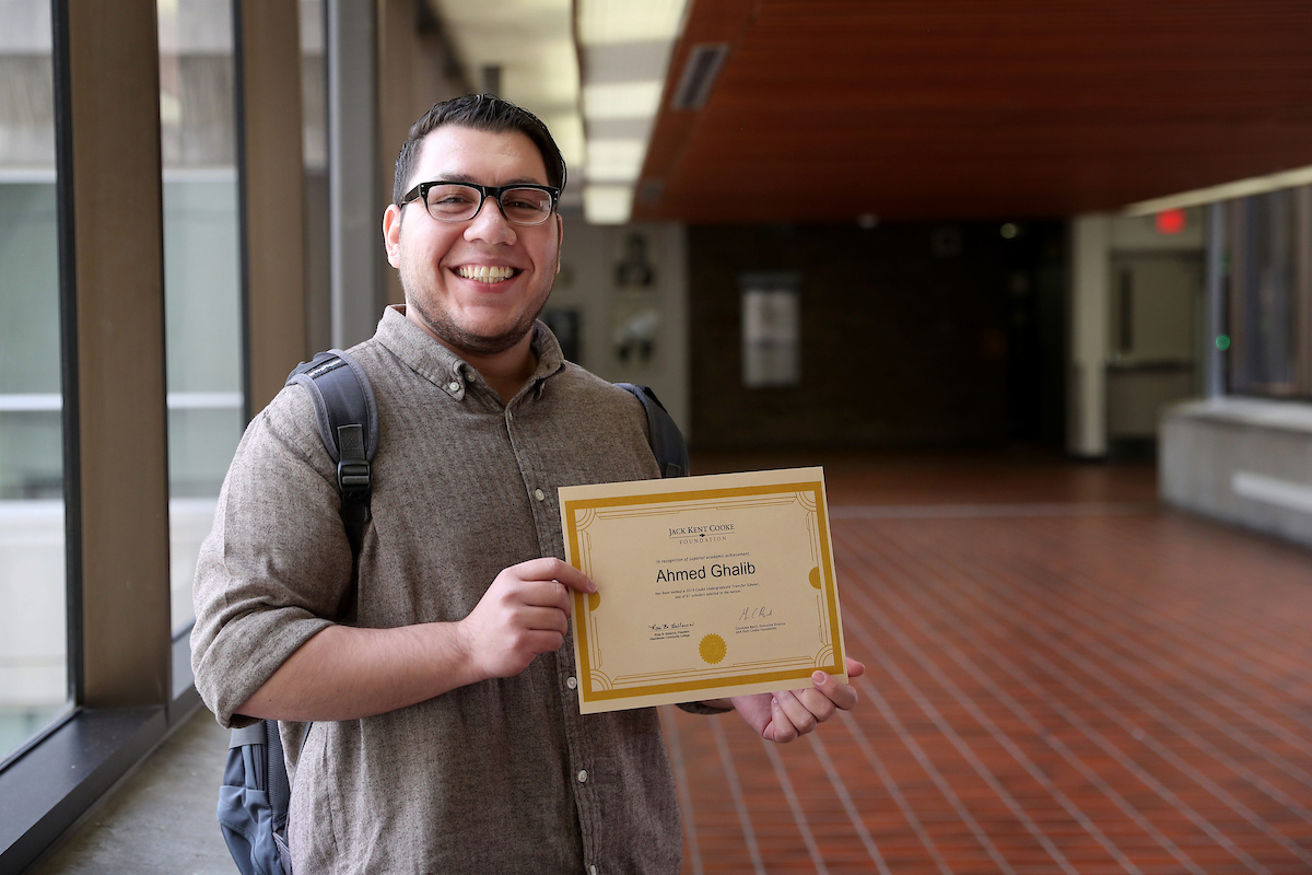 Ahmed Ghalib is the second WCC student to win a prestigious Jack Kent Cooke Foundation Undergraduate Transfer Scholarship in as many years. (Photo by Kelly Gampel)