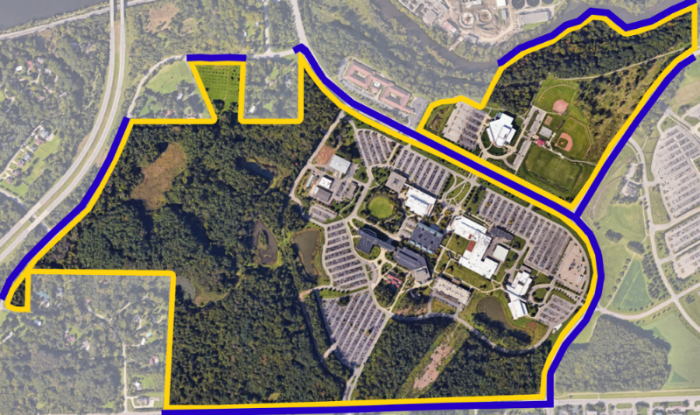 WCC campus and geographical areas adjacent to it that are covered by the Clery Act